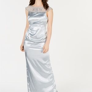 Adrianna Papell Embellished Satin Gown Icy Mint